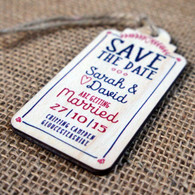 "Printed wooden ""Save the Date"" Tag"
