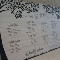 Engraved Wooden Wedding Table Plan - Trees.  Artwork engraved into oak veneered wood.