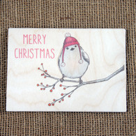 Wooden Printed Postcard - Christmas Robin Design