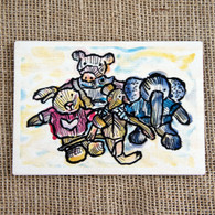 Printed Wooden Postcards - Knitted Characters