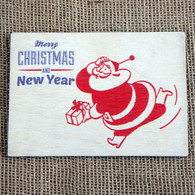 Wooden Printed Postcard - Retro Santa