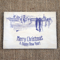 Wooden Printed Postcard - Christmas Stockings