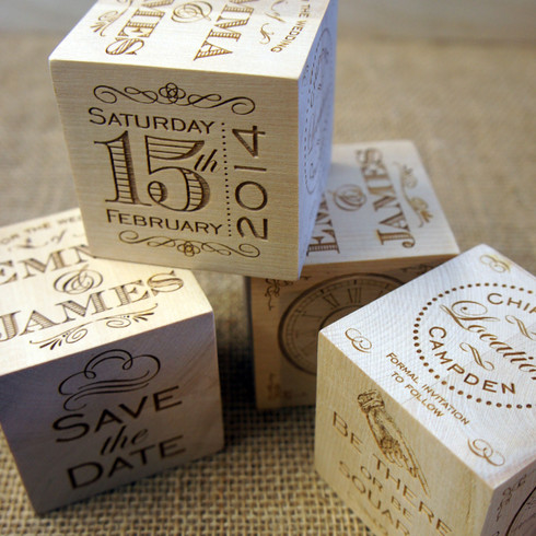 Wooden Save the Date Wedding Cube
