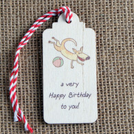 Wooden Printed Gift Tag - Happy Birthday to You!