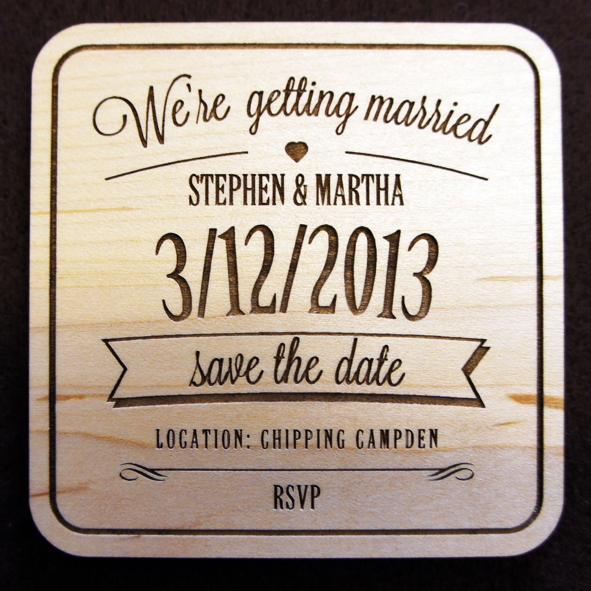 Save the date coasters in Brisbane