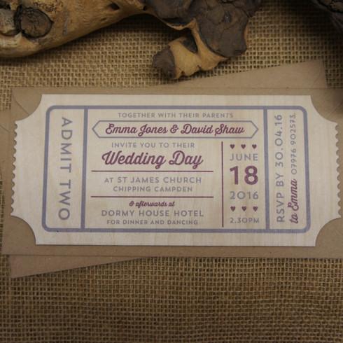 Camdeco Printed Wooden Wedding Invitation