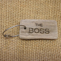 "Engraved Driftwood Keyrings - ""The Boss"""