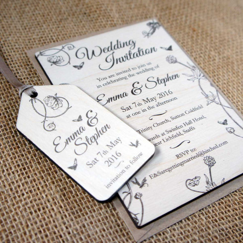 printed wooden wedding invitation with matching save the date printed - Wooden Wedding Invitations