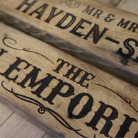 Engraved wording into reclaimed solid oak signs.  Produced from reclaimed oak beams.