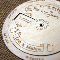 Laser engraved wood and acrylic invitations Weddings Gifts