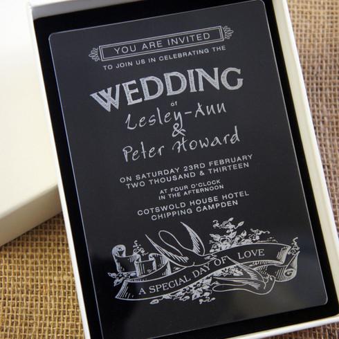 Camdeco Acrylic Wedding Invitation Swallows Design