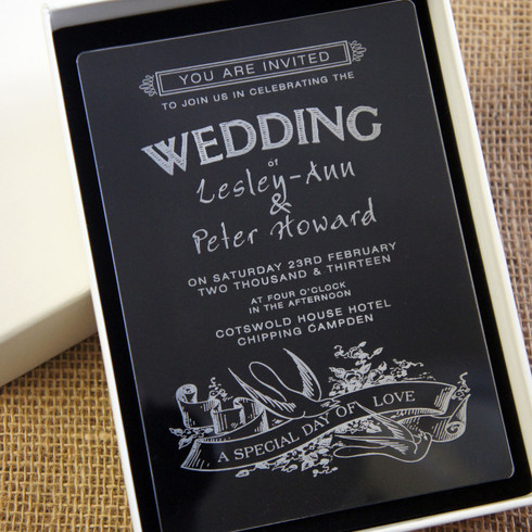 Attractive Clear Acrylic Wedding Invitation   Swallows Shown In Ivory Box Amazing Design