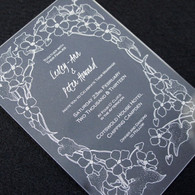 Clear Acrylic Wedding Invitation - Flower Border