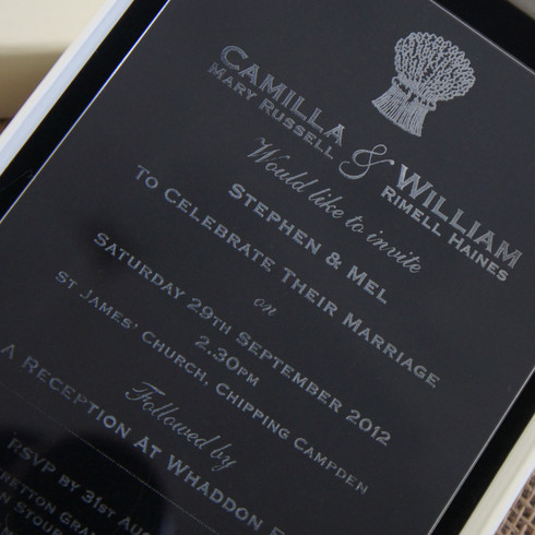 Clear Acrylic Wedding Invitation   Harvest Shown In Ivory Box