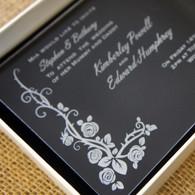 Clear Acrylic Wedding Invitation - Wildrose shown in Ivory box