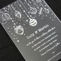 Clear Acrylic Wedding Invitation - Christmas