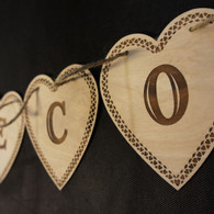 Wooden Wedding Bunting - Hearts