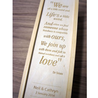 Wooden personalised, engraved wedding winebox