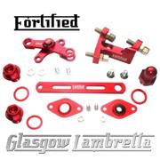 FORTIFIED Lambretta CUSTOM GEAR LINKAGE, PLUGS & SEALS SET DEEP RED CNC ALLOY