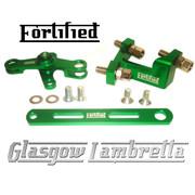 FORTIFIED Lambretta CUSTOM GEAR LINKAGE KIT GREEN CNC ALLOY
