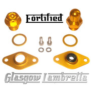 FORTIFIED Lambretta CUSTOM OIL PLUG / MAG HOUSING SEAL KIT #1 GOLD CNC ALLOY