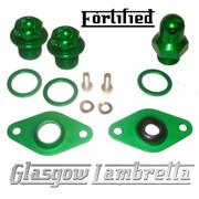 FORTIFIED Lambretta CUSTOM OIL PLUG / MAG HOUSING SEAL SET #2 GREEN CNC ALLOY