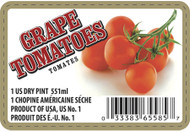 Grape Tomato Label - 1 Pint w/UPC