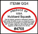 Hubbard Squash PLU #4768 Label