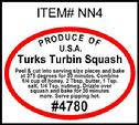 Turks Turban Squash PLU #4780 Label