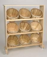 Wood Display Rack w/9 Half Bushel baskets Top Shelf