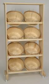 Wood Display Rack w/8 Shallow Bushel baskets