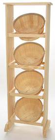 Wood Display Rack w/4 Shallow Bushel baskets
