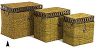 Set of 3 Seagrass Hampers w/ Metal Rims