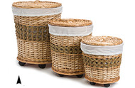 Set of 3 Round Willow Hampers on Casters