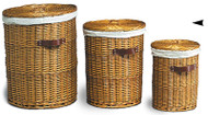 Set of 3 Willow Hampers w/Cloth Linings