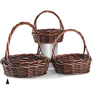 Set of 3 Stained Round Willow Baskets