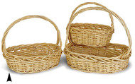 Set of 3 Oval Heavy Willow Baskets