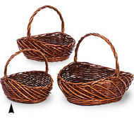 Set of 3 Oval Fancy Stained Willow Baskets