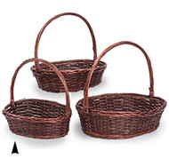Set of 3 Oval Stained Willow& Wood Baskets