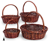 Set of 4 Round Stained Willow Baskets