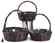 Set of 3 Round Stained Baskets (w/Liners)