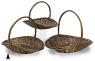 Set of 3 Stained Willow Fireside Baskets