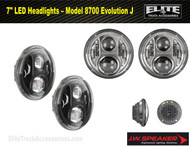 "7"" Round LED Projector Headlight Set Evolution J (Pair) (0551131, 0551141)"