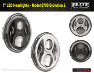 "7"" Round LED Projector Headlight Model 8700 Evolution 2 (0549701, 0549711)"