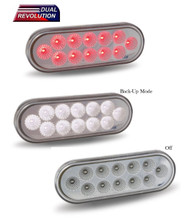 Dual Revolution Oval LED Stop, Turn & Tail - Red / White / Clear Lens (TLED-OX60R)
