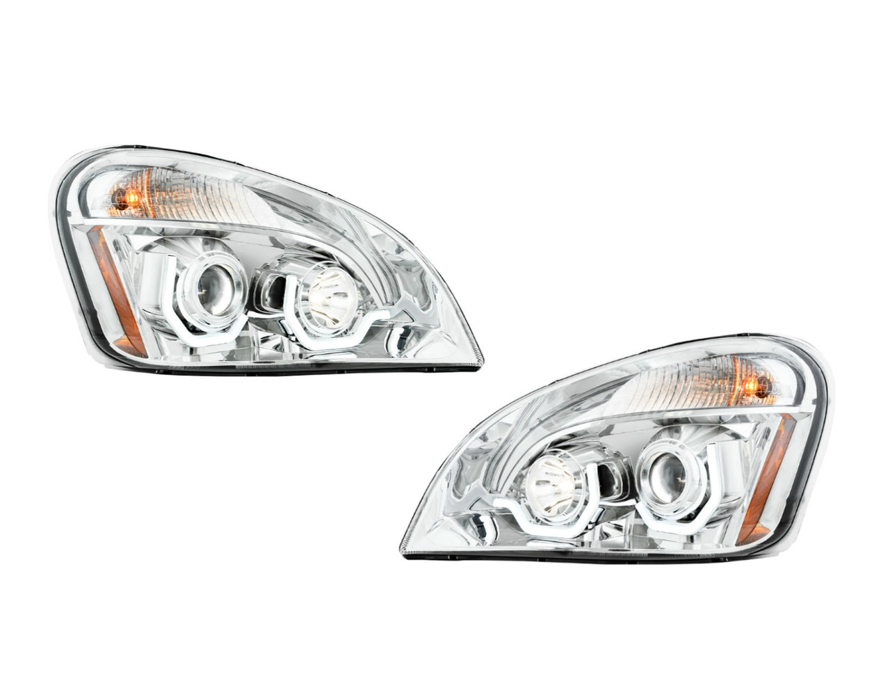freightliner columbia projection headlight with led running light - chrome