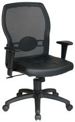 Screen Back Mesh Chair with Leather Seat [599402] -1