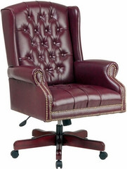 Traditional Oxblood Vinyl Wing Back Chair [TEX220] -1