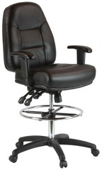 Harwick Adjustable Leather Drafting Chair with Arms -100KL