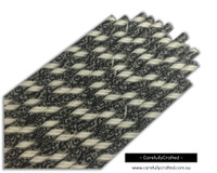 25 Paper Straws - Black Swirl on Grey and White Stripe - #PS4